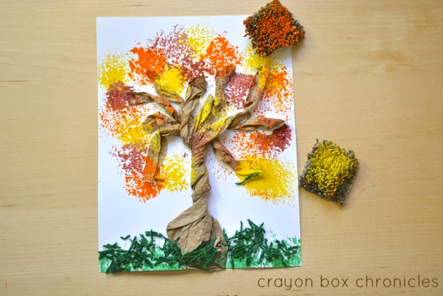 Fall Textured Art Using Carpet Squares