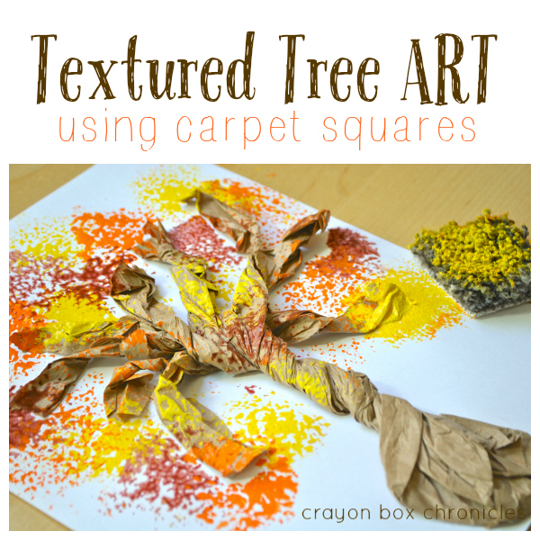 Fall Textured Tree Art for Kids Using Carpet Samples