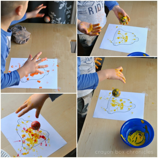 Bouncy Ball Christmas Art Activity for Preschoolers