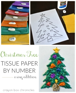 Christmas tree tissue paper by number craft using addition for kids by Crayon Box Chronicles. #Christmas #mathactivity