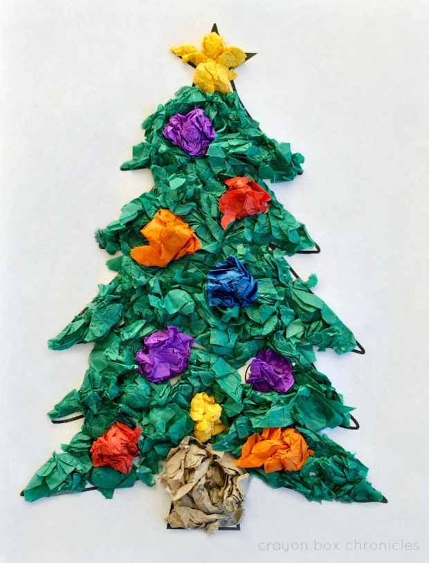 Color by Number Tissue Paper Tree Activity