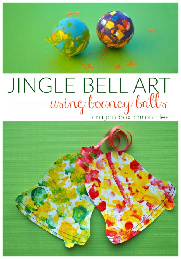 Easy Christmas Art Project for Kids using bouncy balls by Crayon Box Chronicles
