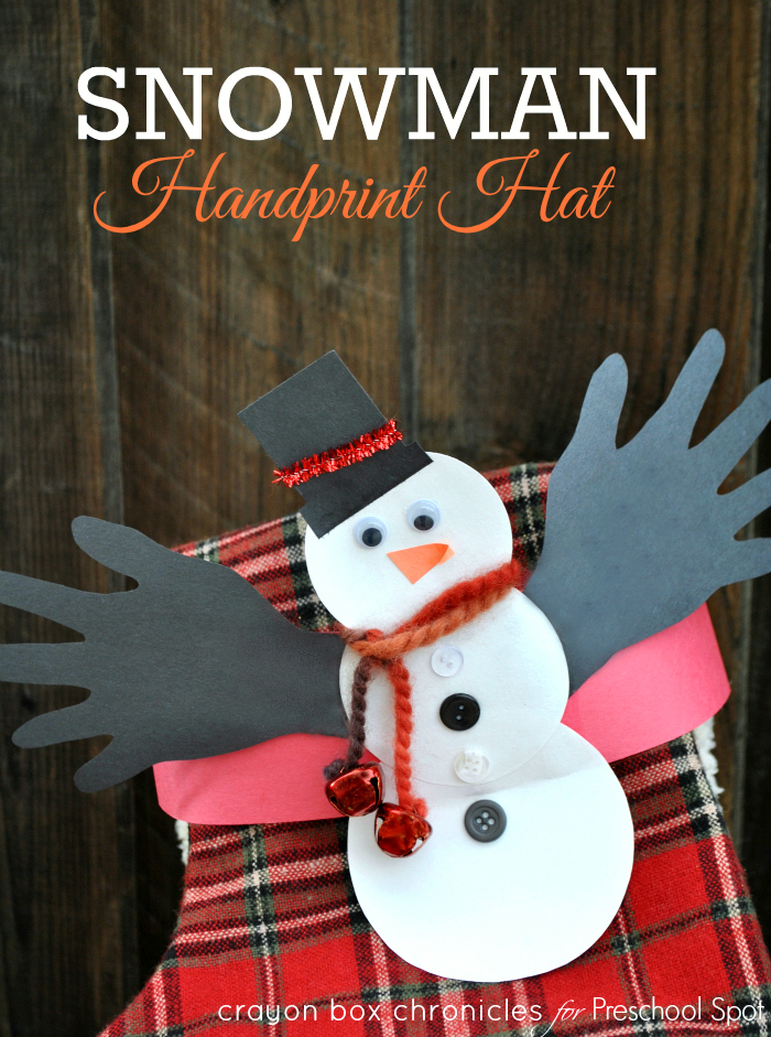 Snowman Jingle Handprint Hat by Crayon Box Chronicles for Preschool Spot