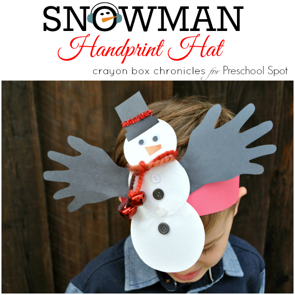 Handprint Snowman Jingle Bell Headband by Crayon Box Chronicles at Preschool Spot